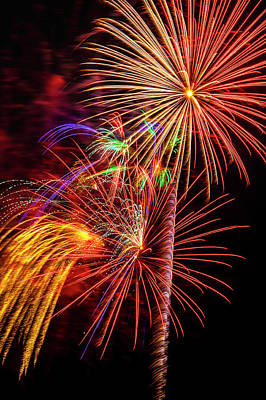 Photograph - Engaging Colorful Fireworks by Garry Gay