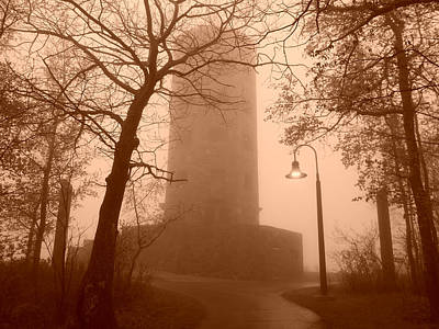 Lipstick Kiss - Enger Tower in Fog by Alison Gimpel