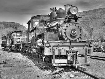 Colorado Railroad Museum Photograph - Engine 12 Black And White by Lorraine Baum