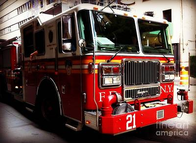 Photograph - Engine 21 - New York City Fire Engine by Miriam Danar