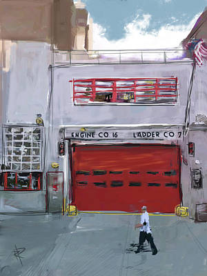 American Flag Mixed Media - Engine Co. 16 by Russell Pierce