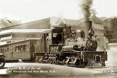 Photograph - Engine No. 8 Of The Old Mt Tamalpais And Muir Woods Railroad  by California Views Archives Mr Pat Hathaway Archives