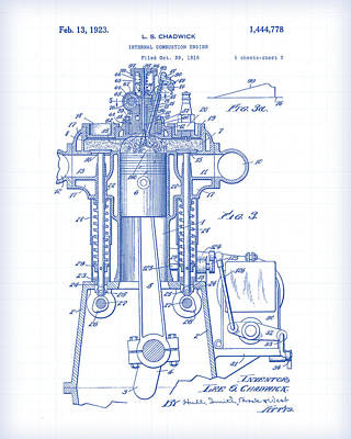 Painting - Engine Patent Drawing by Gary Grayson