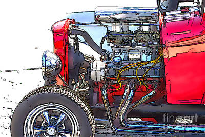 Books Photograph - Engine Sketch By Darrell Hutto by J Darrell Hutto