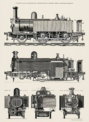 Steampunk Drawings - Engine train and its compartments by Edward Charles Healey