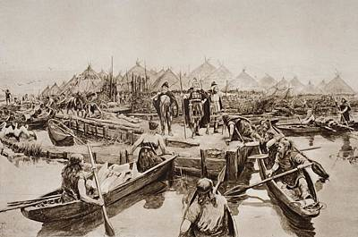 Canoe Drawing - England 2,000 Years Ago. The Landing by Vintage Design Pics