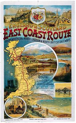 Mixed Media - England And Scotland East Coast Route - Retro Travel Poster - Vintage Poster by Studio Grafiikka