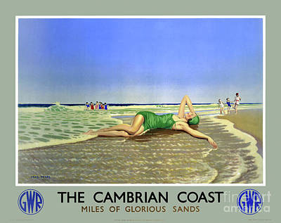 Drawing - England Cambrian Coast Vintage Travel Poster by Carsten Reisinger