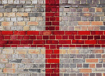 Digital Art - England Flag On A Brick Wall by Steve Ball