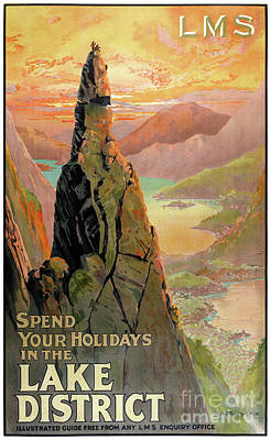 Drawing - England Lake District Vintage Travel Poster by Carsten Reisinger
