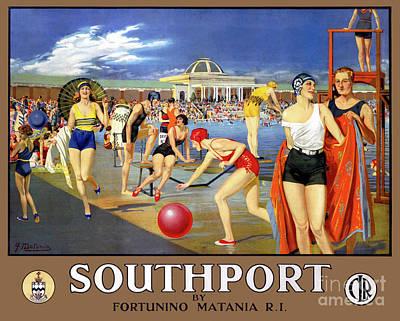 Drawing - England Southport Restored Vintage Travel Poster by Carsten Reisinger