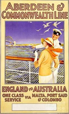England To Australia Art Print