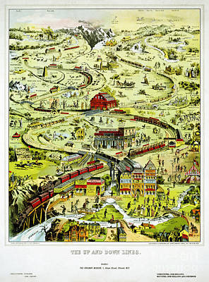 Drawing - England Up And Down Lines Railway Vintage Poster by Carsten Reisinger