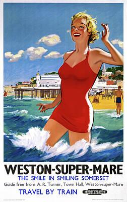 Painting - England Weston Super Mare Vintage Travel Poster by Carsten Reisinger