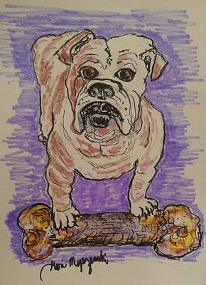 English Bulldog Drawing Painting - Englinsh Bulldog by Geraldine Myszenski