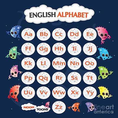 Alphabet Learning Digital Art - English Alphabet by Moon Toons