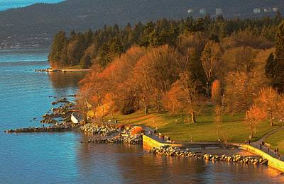 Photograph - English Bay At Golden Hr. by Sheldon Bilsker