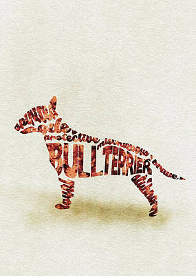 English Bull Terrier Watercolor Painting / Typographic Art Art Print