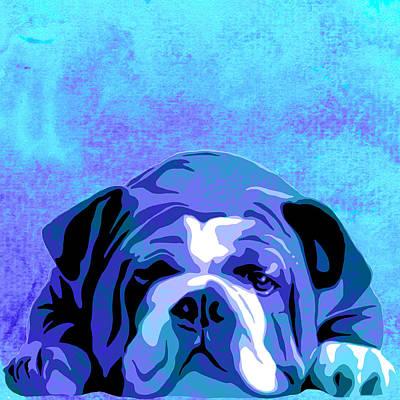 English Bulldog Animal Blue Decorative Wall Poster 3 - By Diana Van  Art Print by Diana Van