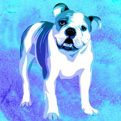 Dog Close-up Painting - English Bulldog Animal Blue Decorative Wall Poster 6 - By Diana Van by Diana Van