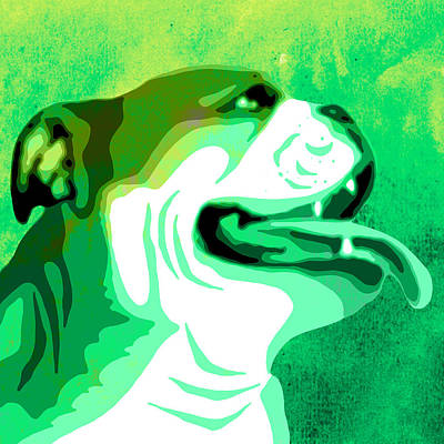 Dog Close-up Painting - English Bulldog Animal Green Decorative Wall Poster 4 - By Diana Van by Diana Van