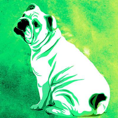 Dog Close-up Painting - English Bulldog Animal Green Decorative Wall Poster 5 - By Diana Van by Diana Van