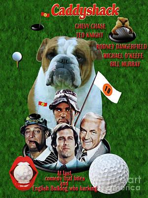 Painting - English Bulldog Art Canvas Print - Caddyshack Movie Poster by Sandra Sij