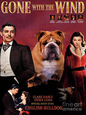Painting - English Bulldog Art Canvas Print - Gone To The Wind Movie Poster by Sandra Sij
