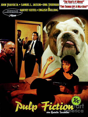 Painting - English Bulldog Art Canvas Print - Pulp Fiction Movie Poster by Sandra Sij