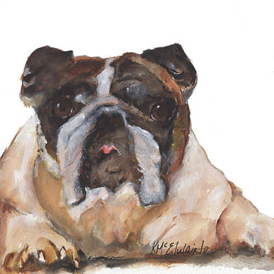 Painting - English Bulldog By Kmcelwaine by Kathleen McElwaine