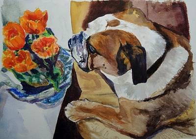 Painting - English Bulldog by Chrissey Dittus