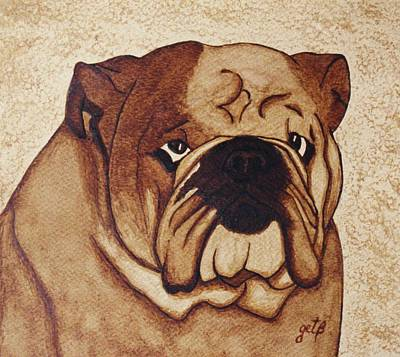 English Bulldog Painting - English Bulldog Coffee Painting by Georgeta  Blanaru