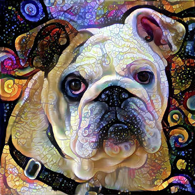 Digital Art - English Bulldog Colorful Art by Peggy Collins