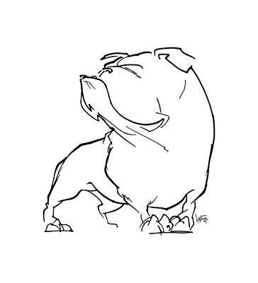English Bulldog Drawing Drawing - English Bulldog Gesture Sketch by John LaFree