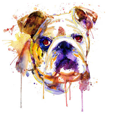 Watercolor Pet Portraits Mixed Media - English Bulldog Head by Marian Voicu