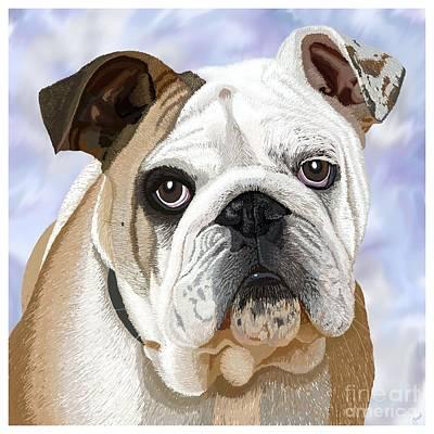 Pup Digital Art - English Bulldog by Jacqueline Barden