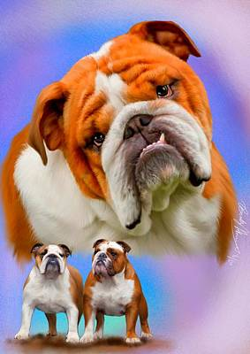 Painting - English Bulldog- No Border by Becky Herrera