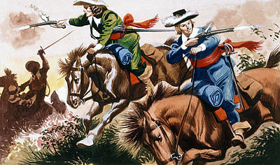 English Civil War Battle Scene Art Print by Ron Embleton