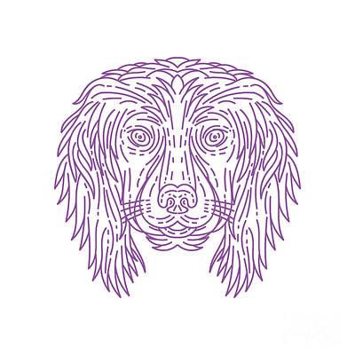 Cocker Spaniel Digital Art - English Cocker Spaniel Dog Head Mono Line by Aloysius Patrimonio