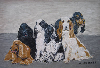Cocker Spaniel Painting - English Cocker Spaniel Family by Antje Wieser
