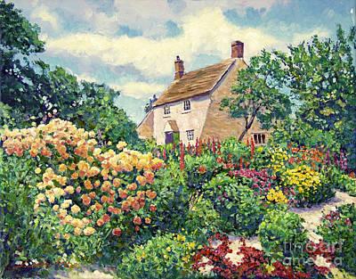 English Garden Painting - English Cottage Garden by David Lloyd Glover
