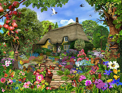 Newton Digital Art - English Cottage Garden by Gerald Newton