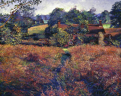 Pathway Painting - English Country Fields by David Lloyd Glover