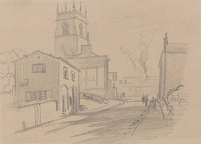 Drawing - English Country Town by Edward Lear