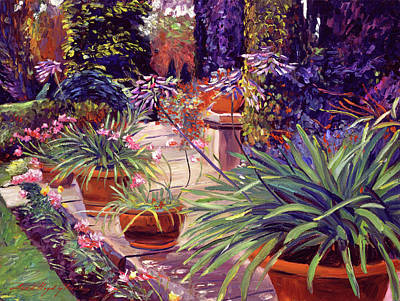 Agapanthus Painting - English Estate Patio Garden by David Lloyd Glover