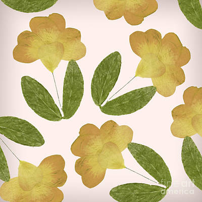 English Garden Pressed Yellow Rose Pattern Art Print