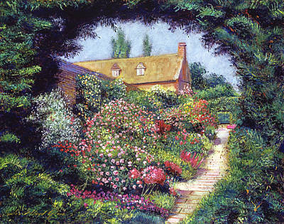 English Garden Stroll Art Print by David Lloyd Glover