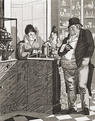 Buffet Drawing - English Gentleman Paying The Bill by Vintage Design Pics