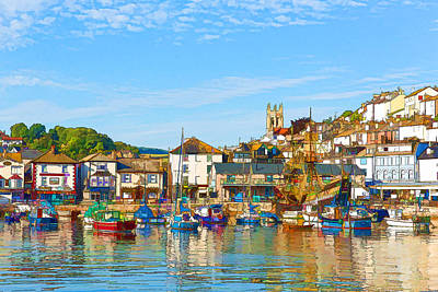 Port Town Digital Art - English Harbour Brixham Harbour And Marina Devon England With Boats On A Calm Day With Blue Sky by Michael Charles