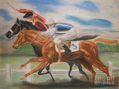 English Horse Race Art Print by Nancy Rucker
